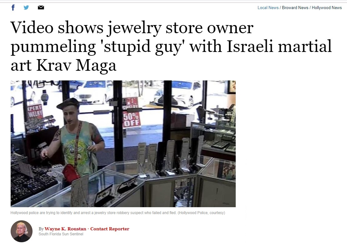 Video shows jewelry store owner pummeling 'stupid guy' with Israeli martial art Krav Maga