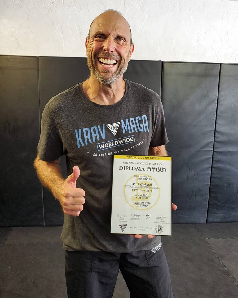 Mark Gerhardt receives Krav Maga yellow belt diploma