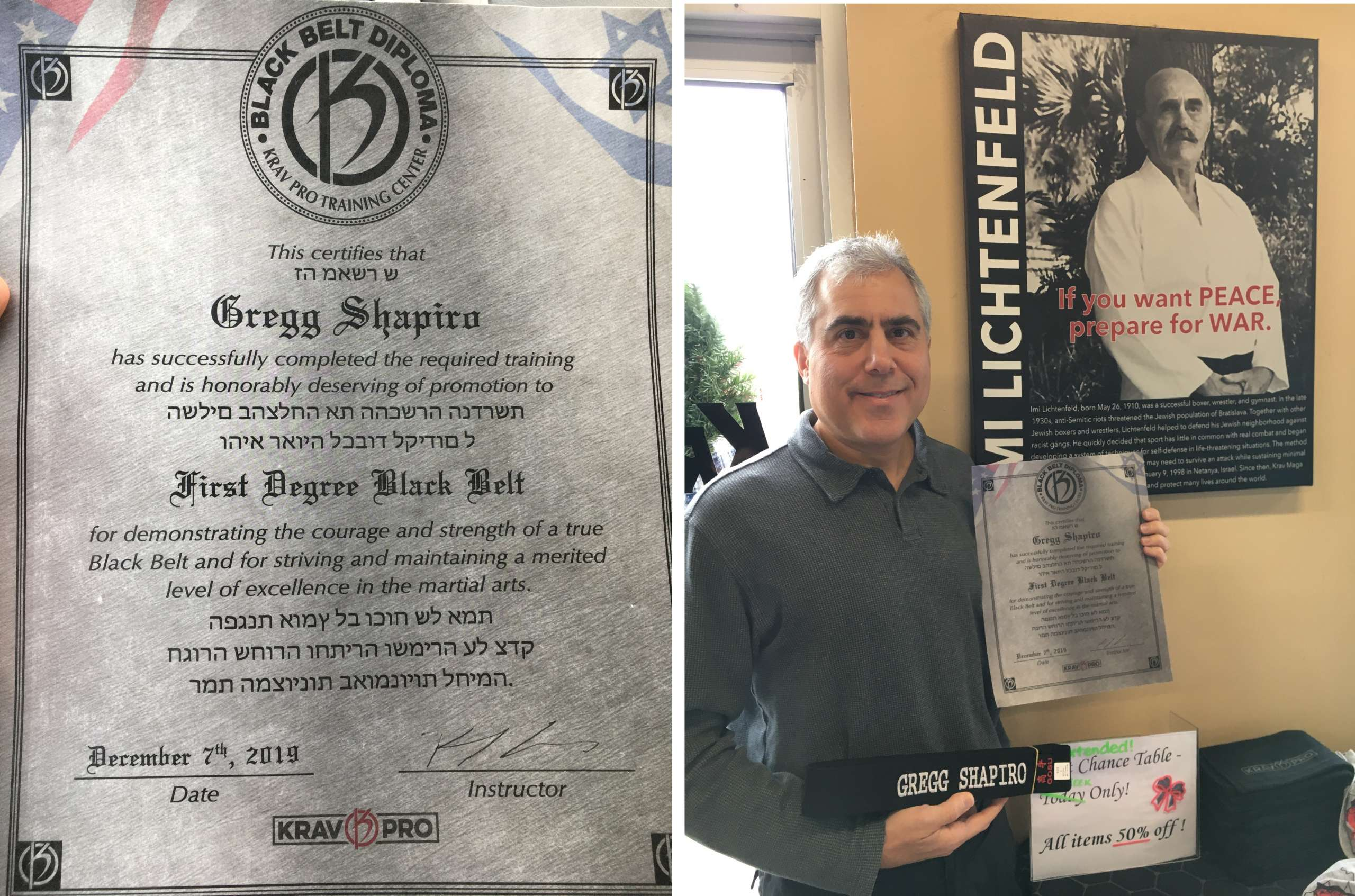 Gregg Shapiro earning his Krav Maga black belt